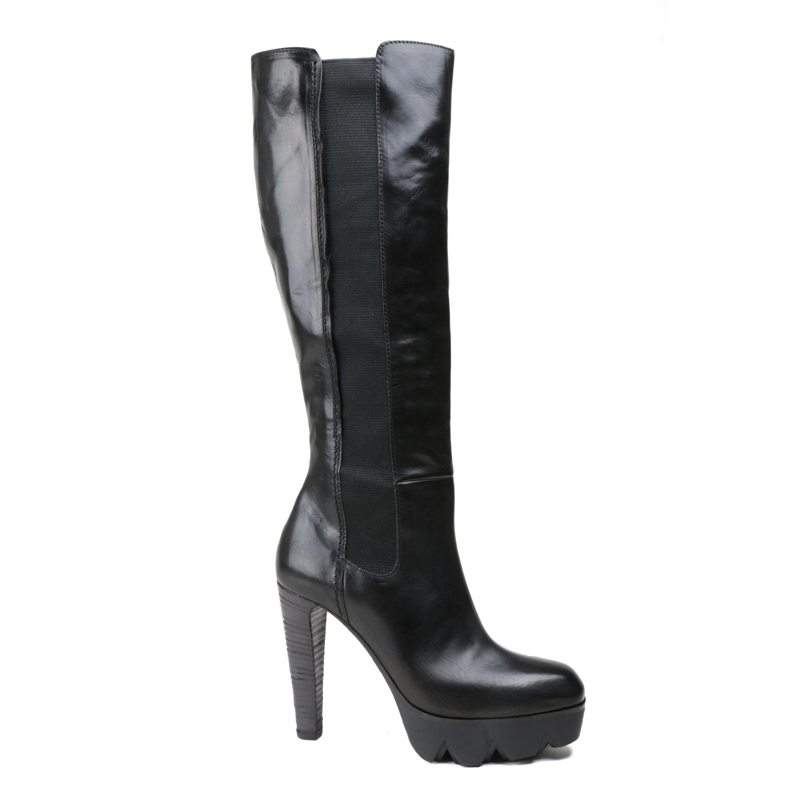 Señora botas Vic genuina suela plataforma negro cuero liso nuevo