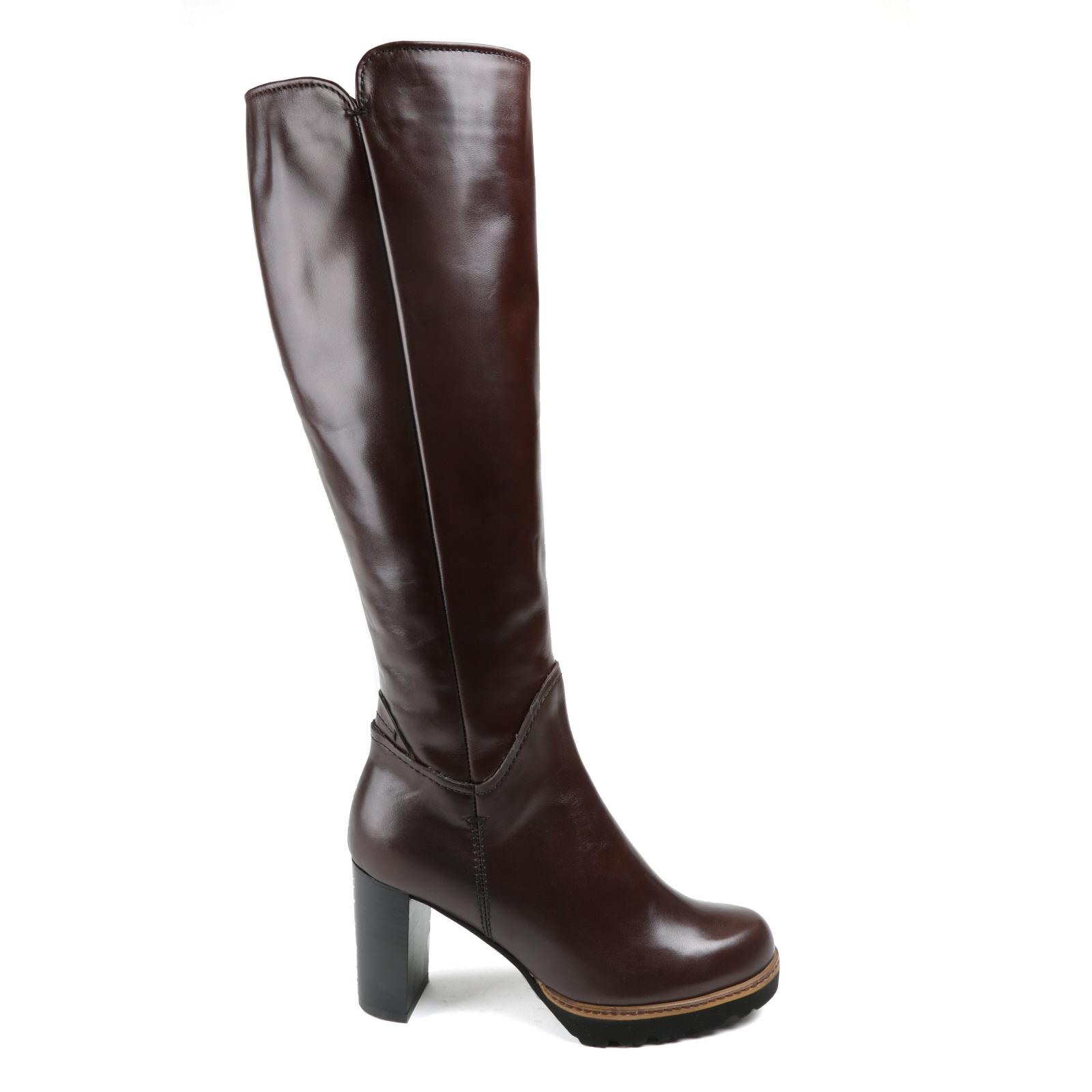 Damen Stiefel Maripe' Plateau braun  Glattleder NEU Gr.37,5