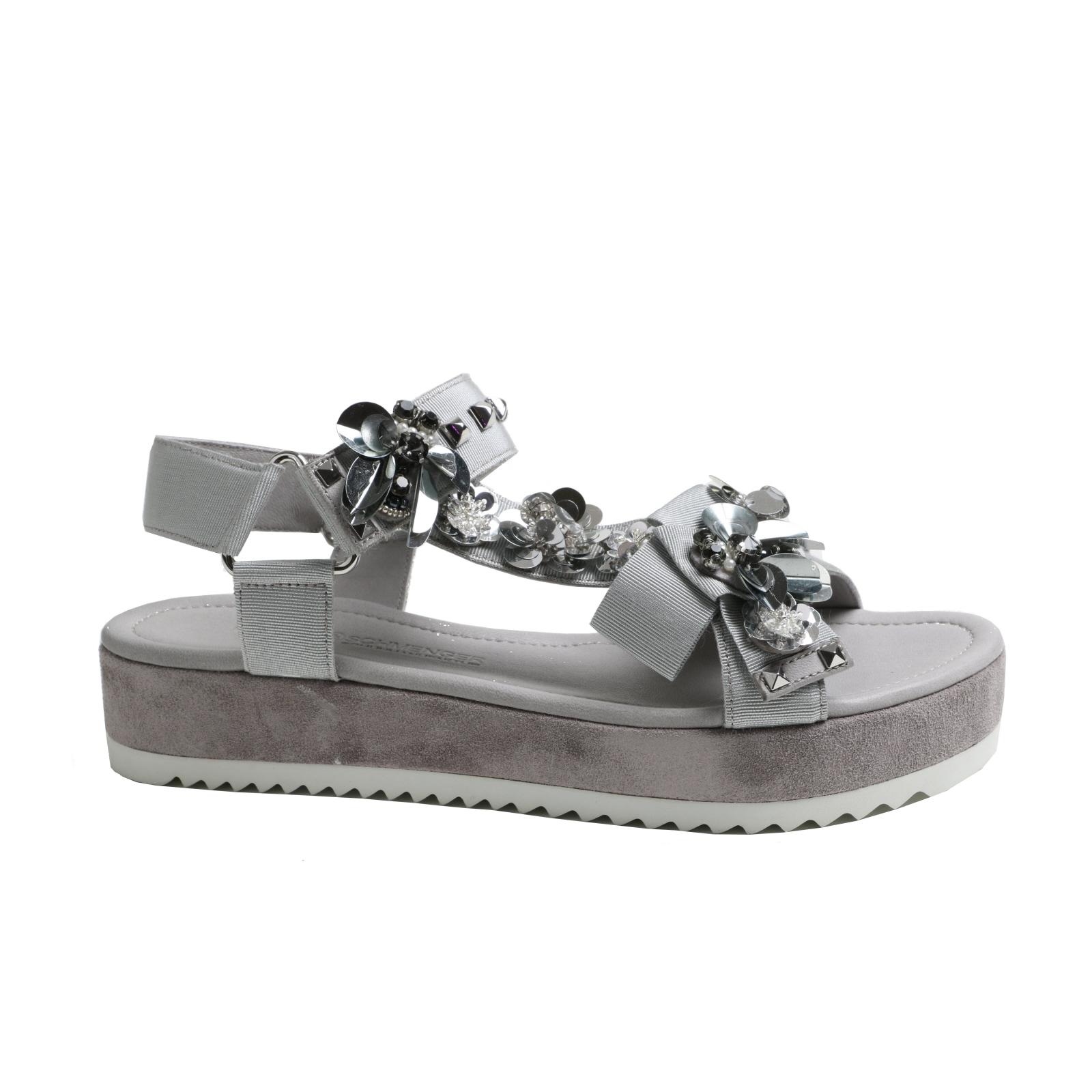 Damen Sandalette K&S Mode grau  Leder  kombiniert NEU Gr.37