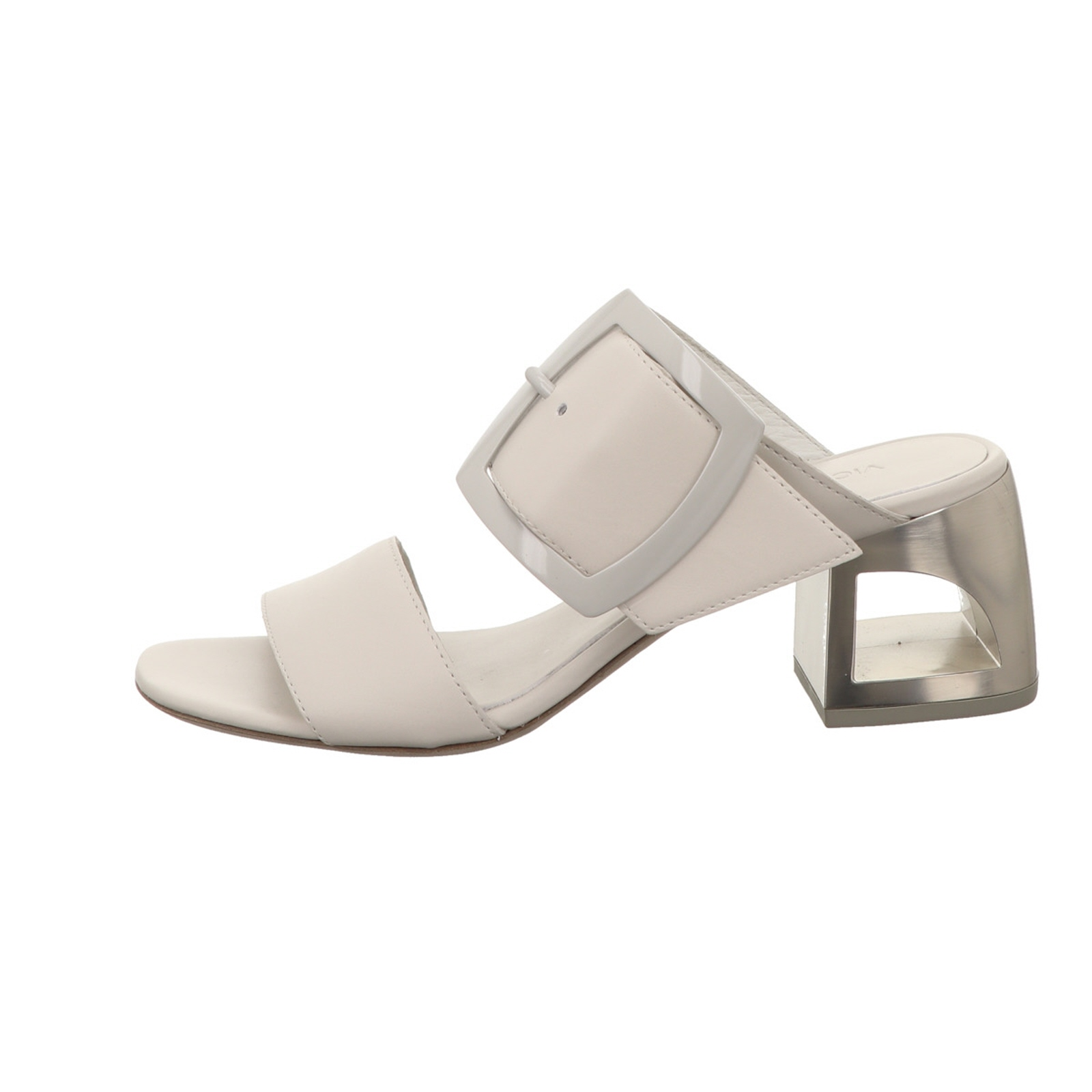 Señora sandalia es Vic genuina a la moda Weiss cuero liso nuevo